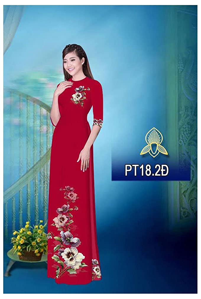 ADVN00444 Silk 3D Traditional Vietnamese Long Dress Collections with Pants All Size Ao Dai