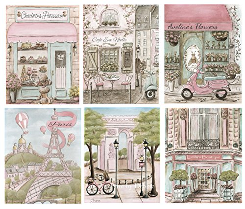 (Paris Wall Art For Girls, Set Of 6 Girls Blush Pink French Bedroom Prints, Personalized Girl's Name Artwork, Pink Parisian Nursery Decor, 6 Sizes - 5x7
