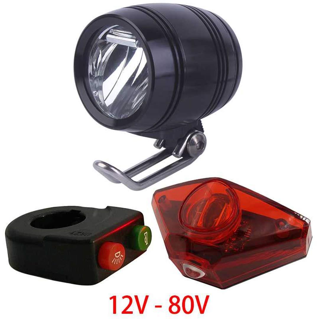 HEALTHLL 6V - 80V 12V 24V 36V 48V 60V 72V Universal E-Bike Headlight Taillight Horn Set Front Light Headlamp Rear Light Taillamp 100LUX HeadTailHorn by HEALTHLL