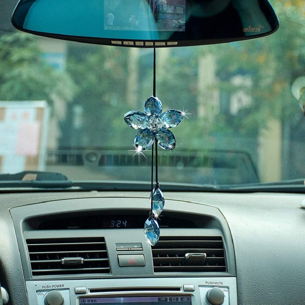 XhuangTech Crystal Cat Eye Car Hanging Ornament Car Rear View Mirror Pendant Car Charm Decoration Luck Car Accessories Cat Eye-White