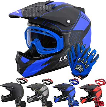 + Gants /& Lunettes De Motocross Leopard LEOX307 Casque de Moto Cross Int/égral ECER Homologu/é Homme Femme 55-56cm 8cm Noir Mat//Bleu S
