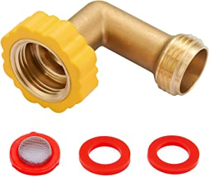 "Minimprover 2 Pack Lead-Free Brass 90 Degree Hose Saver Hose Elbow Fitting Quick Swivel Connect Adapter Thread Size 3/4"" Connector"
