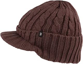 Jaxon & James Cable Knit Peaked Beanie Hat - Coffee