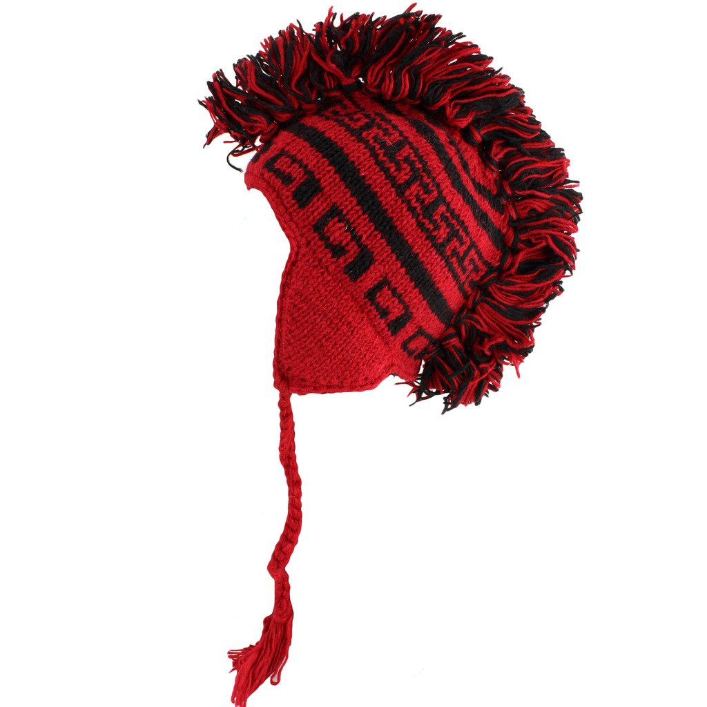 c9a327f5502 Mohawk punk hat wool knit fleece lined earflap beanie red black clothing  jpg 1024x1024 Red knit