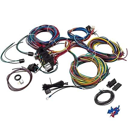 Amazon.com: 21 Circuit Wiring Harness 17 Fuses Street Hot rod ... on gm wiring alternator, gm alternator harness, obd2 to obd1 jumper harness, gm wiring connectors, gm wiring gauge, radio harness,