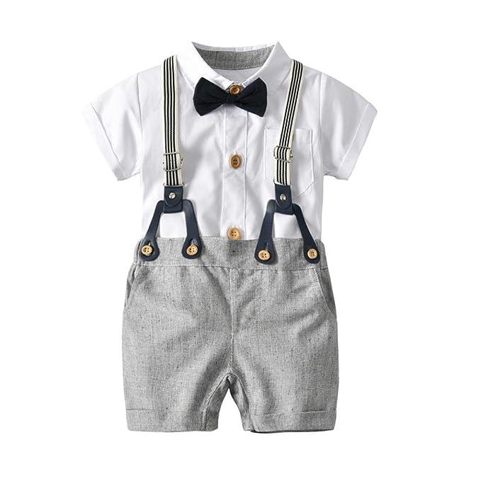 52d6d4325 Amazon.com: Kehen Kids Toddler Boys 2pcs Summer clothwes Gentleman Bowtie  Short Sleeve Romper + Suspenders Shorts Set Baby Overalls: Clothing