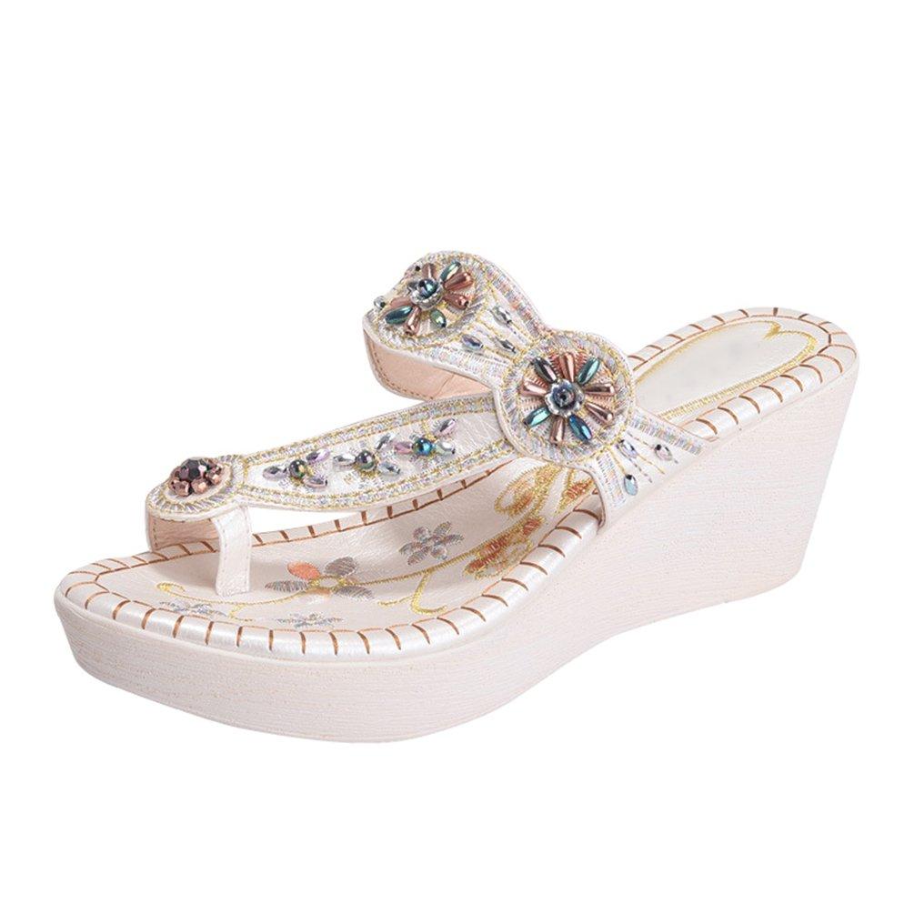 Yoocang Damen Strand Bouml;hmen Keilabsatz Schuhe Sandalen Zehentrenner Schick Flip Flops  Asia 37|Wei?