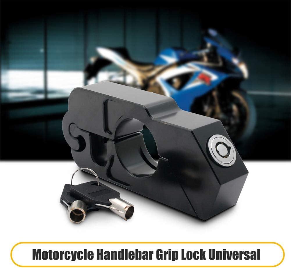 Cerradura de motocicleta para un agarre, acelerador, palanca de freno, manillar universal de aluminio, tapa de seguridad antirrobo con 2 llaves para motocicleta ...