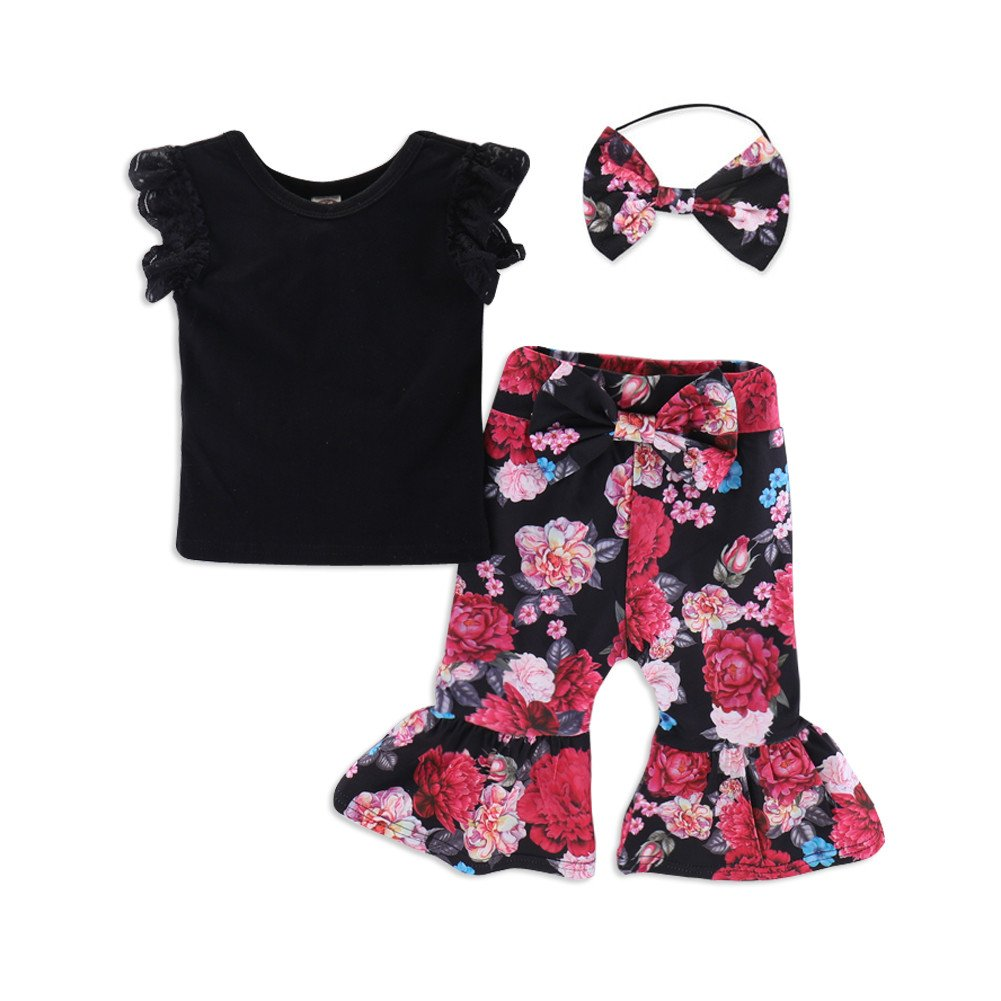 0d65fc0b6bc Amazon.com  Baby Girl Clothes Short Ruffle Sleeve Floral Kids Girls Pants  Sets Summer Outfits Cotton with Headband  Clothing