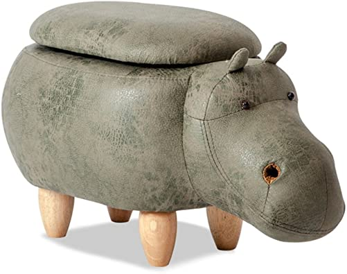 Creative Footstool Ottoman Upholstered Ride-on Stool Changing Shoes Solid Wood Modeling Decorative Furniture,Beautiful and Practical,A Perfect Decoration-Green Hippo Storage