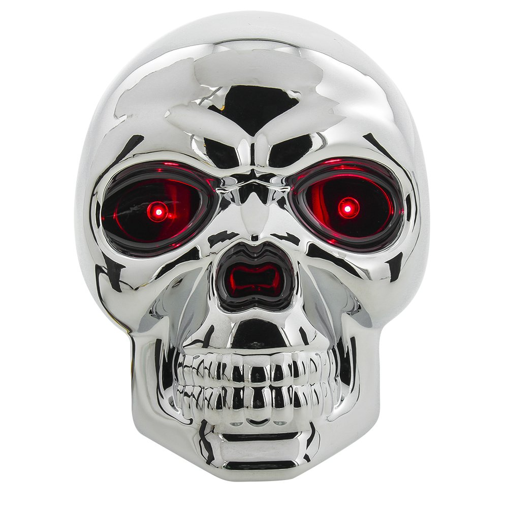 Bully CR-018 Chrome Skull Emblem LED Light Trailer Tow Hitch Receiver Cover with Plug In LED Brake Lights for Chevy, Dodge, GMC, Ford, Toyota, and Others by Bully