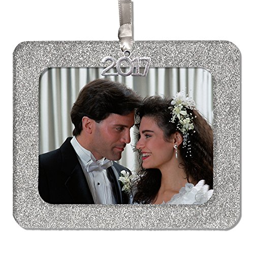 - Expressly Yours! Photo Expressions 2017 Magnetic Glitter Christmas Photo Frame Ornament with Crystal Clear Photo Protector, Horizontal - Silver