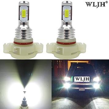 WLJH 2 Pack PSX24W 2504 Bombillas antiniebla 72W Alta potencia Xtremely Super Bright 12V 24V LED CSP 3570 Microprocesadores Bombillas LED para niebla ...