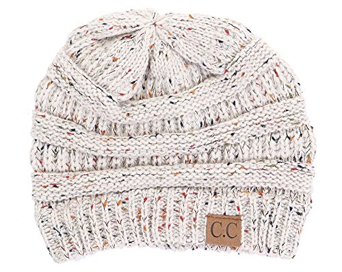 Beanie Hat Cap Gloves (Funky Junque H-6033-67 Confetti Knit Beanie - Oatmeal)