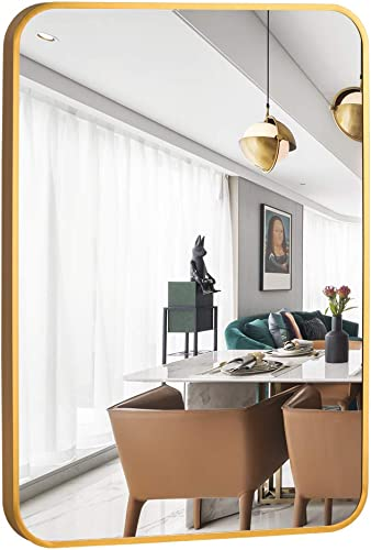 NeuType Large Wall Mounted Mirrors for Bathroom Bedroom Living Room, Vanity Mirror, Brushed Aluminum Alloy Frame, Burst-Proof Glass, Horizontal or Vertical Hanging, 38 x26 , Gold, Round Corner