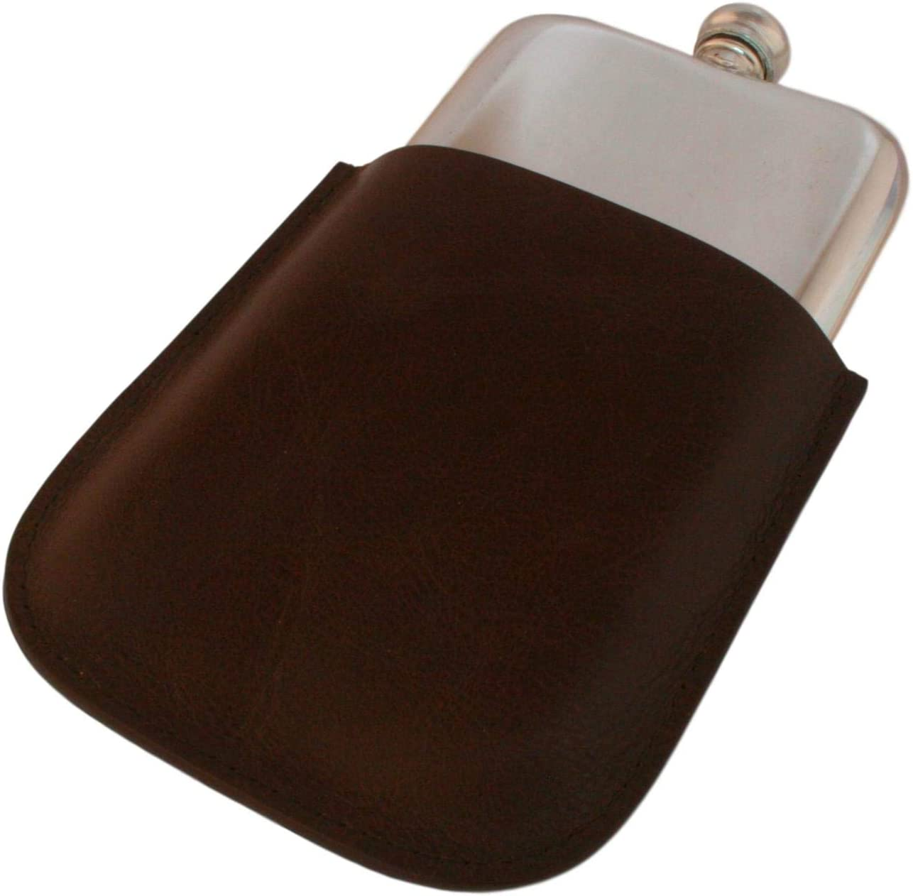Gamekeepers Cottage gifts English Pewter 4 Oz Traditional Hip Flask In Brown Leather Pouch