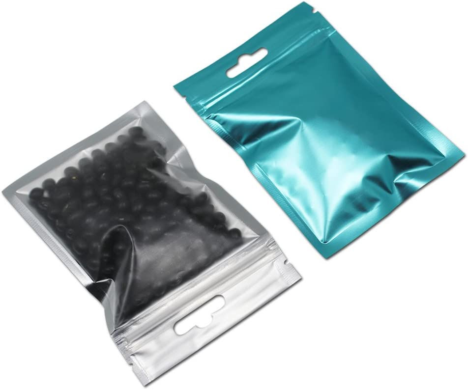 200 Pack Mylar Bags with Hang Hole for Zip Matte Clear Lock Palstic Aluminum Foil Zipper Top Mini Sample Storage Pouch Colored Food Storage Package (Blue, 9x15cm(3.5x6 inch))