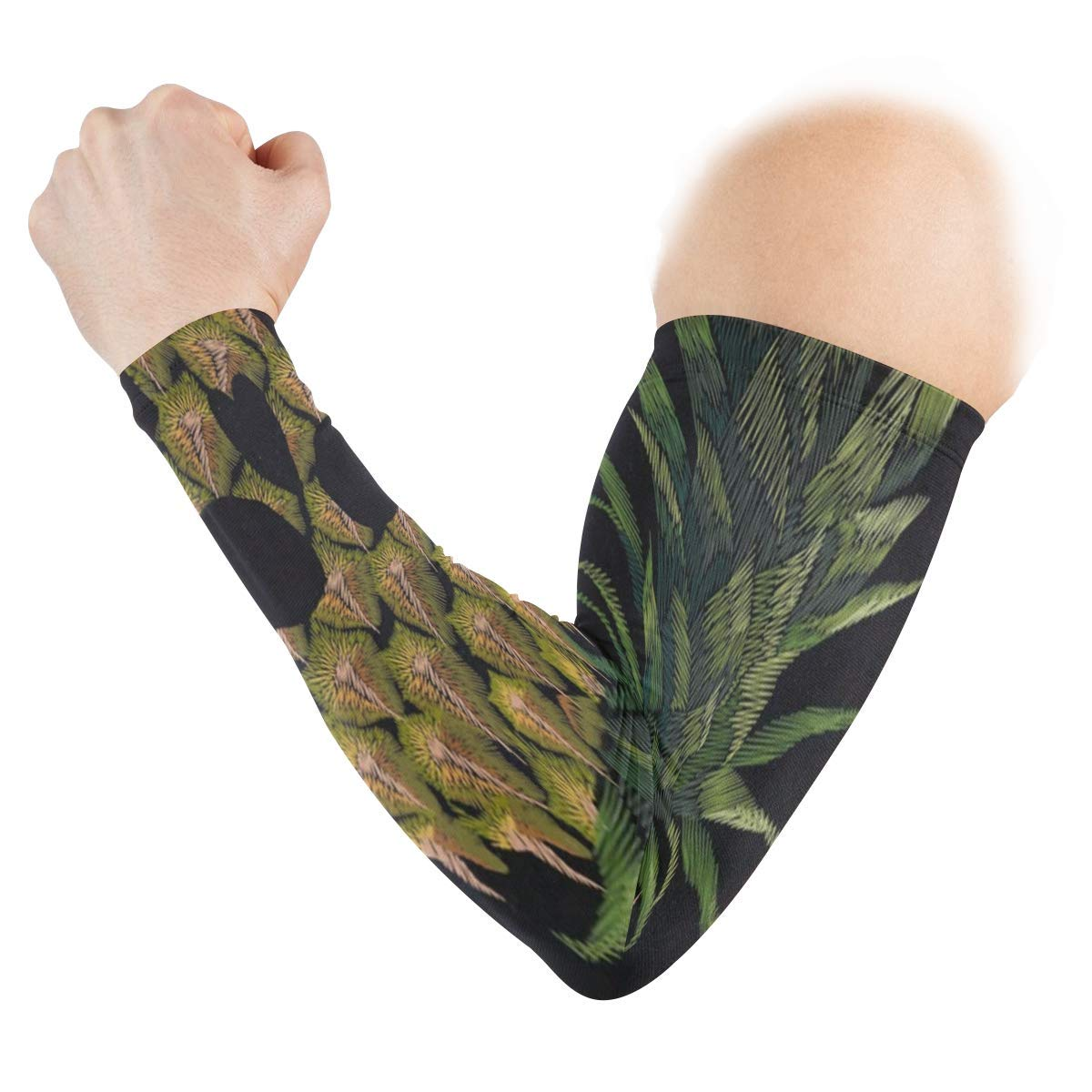 Arm Sleeves Skull Pineapple Mens Sun UV Protection Sleeves Arm Warmers Cool Long Set Covers White