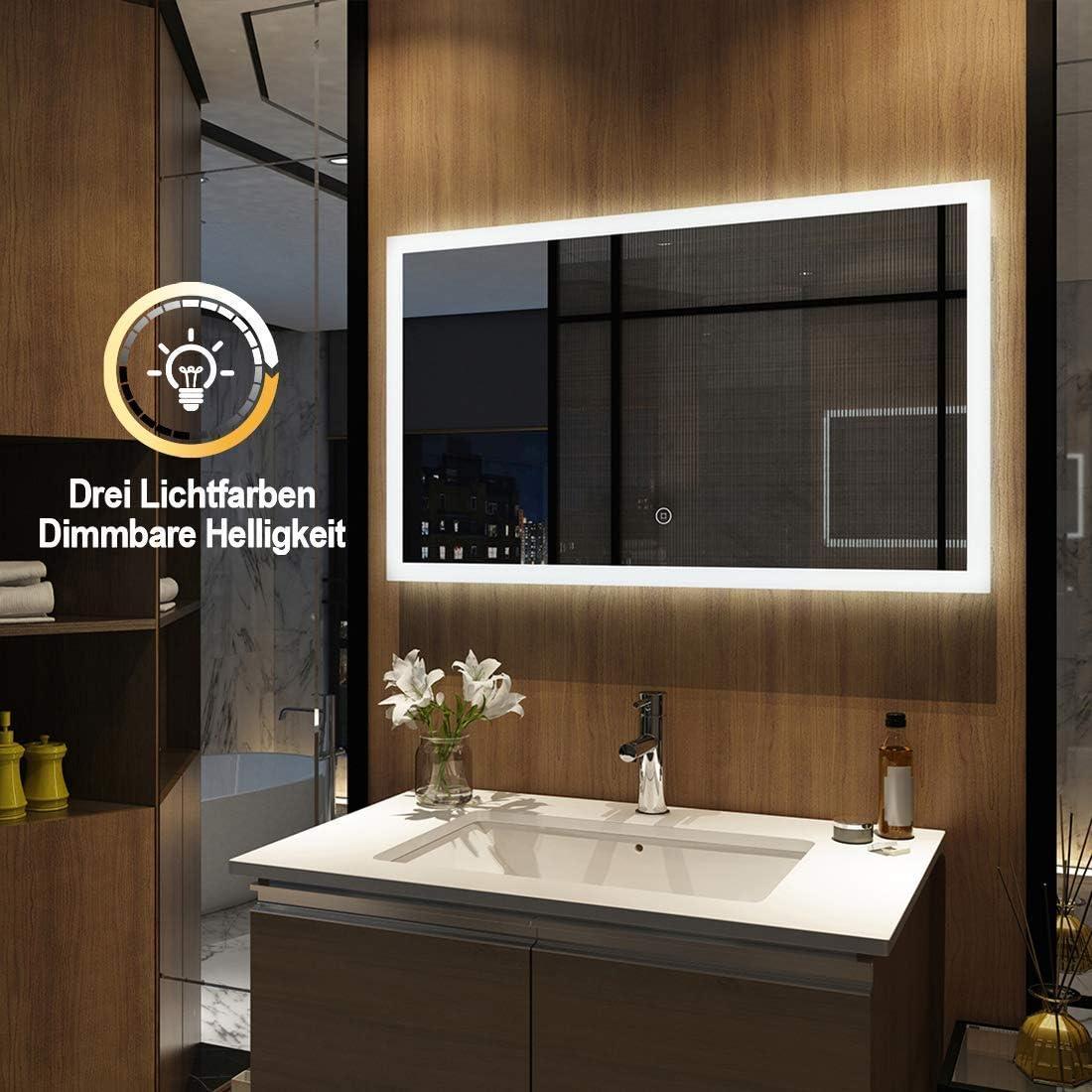Espejo de pared para cuarto de ba/ño con iluminaci/ón LED armario de pared con m/últiples funciones 6400 K 3000 Meykoers