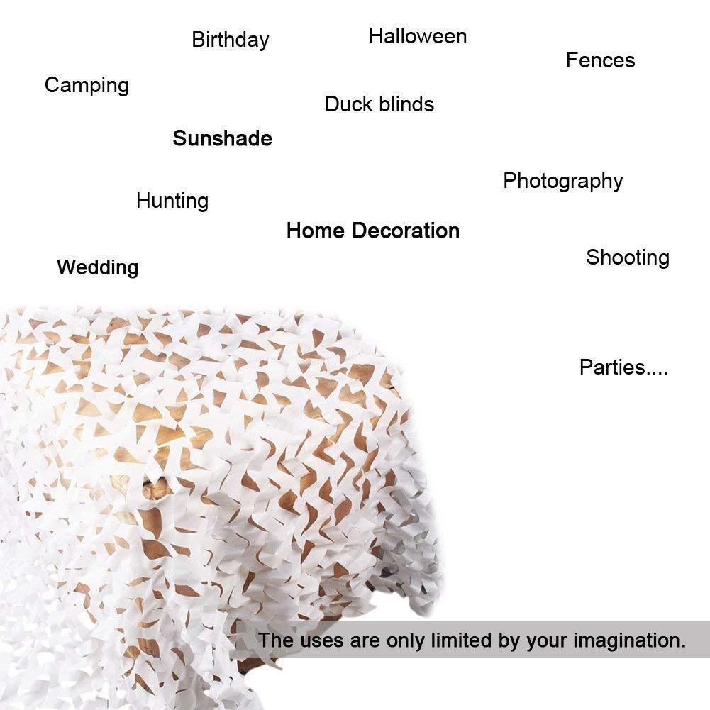 Filet de Protection Solaire pour Jardin Blancs Renforc/é Filet d ombrage Filet de Camouflage R/ésistantes au Feu//Aux Flammes Auvents pour la Chasse Tentes auvents terrasse auvents terrasse 2x3 3x5 8m