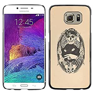 Paccase / SLIM PC / Aliminium Casa Carcasa Funda Case Cover - Skull Bones Cat Tattoo Beige Black - Samsung Galaxy S6 SM-G920