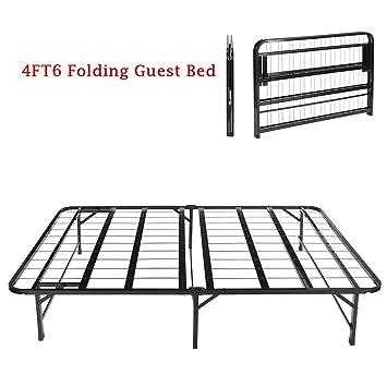4ft6 double folding metal frame bedeggreetm fold up away spare beds - Fold Up Bed Frame