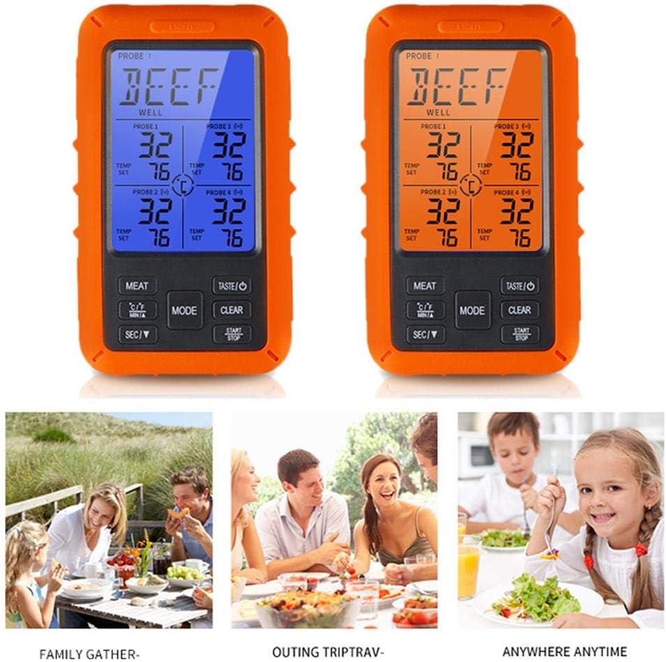 Termometro Per Carne,Termometro Per Carne Digitale Senza Fili,Temperatura Degli Alimenti Monitorata Da Remoto Con 4 Sonde Impermeabili Unit/à Di Misura Ricevitore Per Barbecue Grill Cucina Cottura