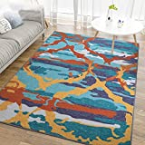 Junovo Stylish Abstract Collection Area Rug for Living Room Bedroom Dining Room,5′ x 8′,Camouflage For Sale