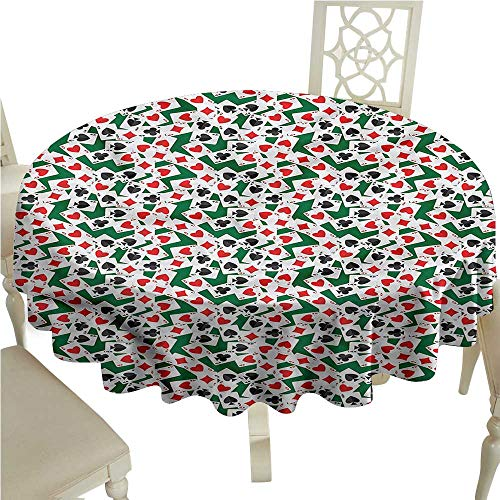 Dinning Tabletop Decoration Poker,Ace Cards Scattered on Table Jacquard Tablecloth Round Tablecloth D 36