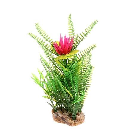 Daxibb Planta acuática para acuario, diseño de flores, decoración de acuario, plástico,
