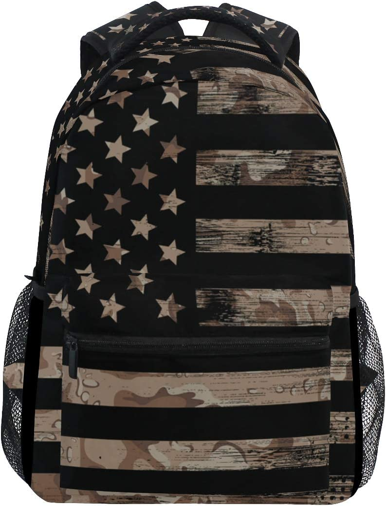 ALAZA American USA Flag With Desert Camouflage Large Backpack Personalized Laptop iPad Tablet Travel School Bag with Multiple Pockets for Men Women College