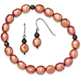 Sterling Silver 7-8mm Fw Cult. Pearls Orange With Hemitate Stretch Bracelet and E
