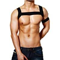 TiaoBug Men's Elastic Shoulder Body Chest Muscle Support Brace Harness Straps with Arm Band Costume