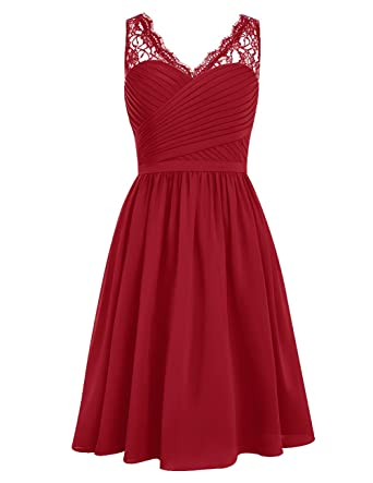 DRESSTELLS Short Homecoming Dress V-Neck Ruched Chiffon Bridesmaid Prom Dress Dark Red Size 2
