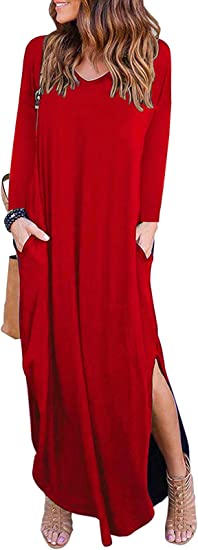 kefirlily Mujer Vestido Largo de Manga Larga con Bolsillo Dividido Vestido de Camiseta Casual Suelta