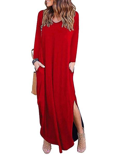 f8d39682b657 MYSHOW Donna Maxi Abito con Manica Lunga con Tasca Fessura Laterale Casual  Allentata Girocollo Stretch Lungo T-Shirt Vestito  Amazon.it  Abbigliamento