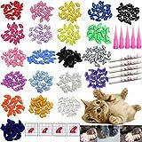 100 PCS Soft Pet Cat Nail Caps VICTHY Cats Paws Grooming Nail Claws Caps Covers 5 Kinds 5Pcs Adhesive Glue Kitten Size