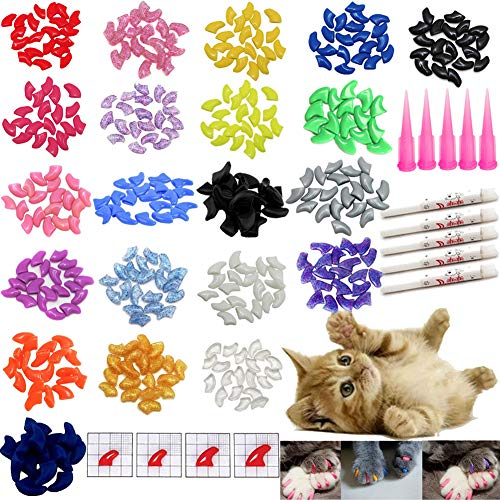 - VICTHY 100 PCS Soft Pet Cat Nail Caps Cats Paws Grooming Nail Claws Caps Covers of 5 Kinds 5Pcs Adhesive Glue Medium Size