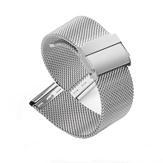 e7d04d55c 18mm Mesh Milanese Strap Stainless Steel Solid Watch Band Replacement 0.6  Interlock Safety Clasp Silver Band