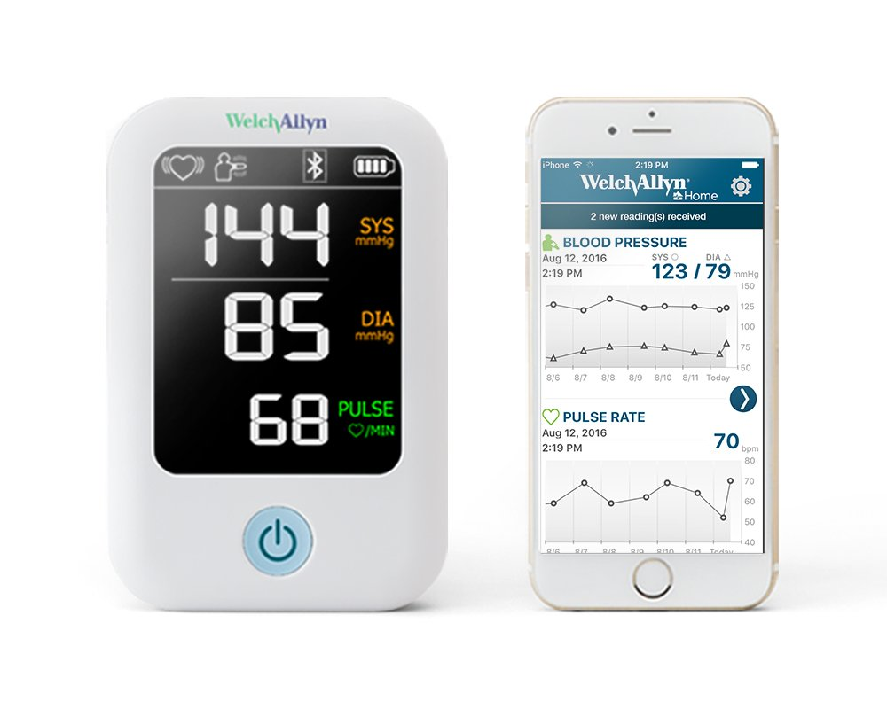 Welch Allyn Home 1700 Series Blood Pressure Monitor and Upper Arm Cuff, Clinical-Grade Technology and Easy Bluetooth Smartphone Connectivity HBP100SBP