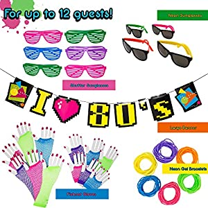 80s Party Supplies and Decorations - 180 Piece Accessory Party Pack Featuring Neon Sunglasses, Shutter Glasses, Fishnet Gloves, Neon Gel Bracelets, and 80s Banner - Complete 80s Costume Party Kit