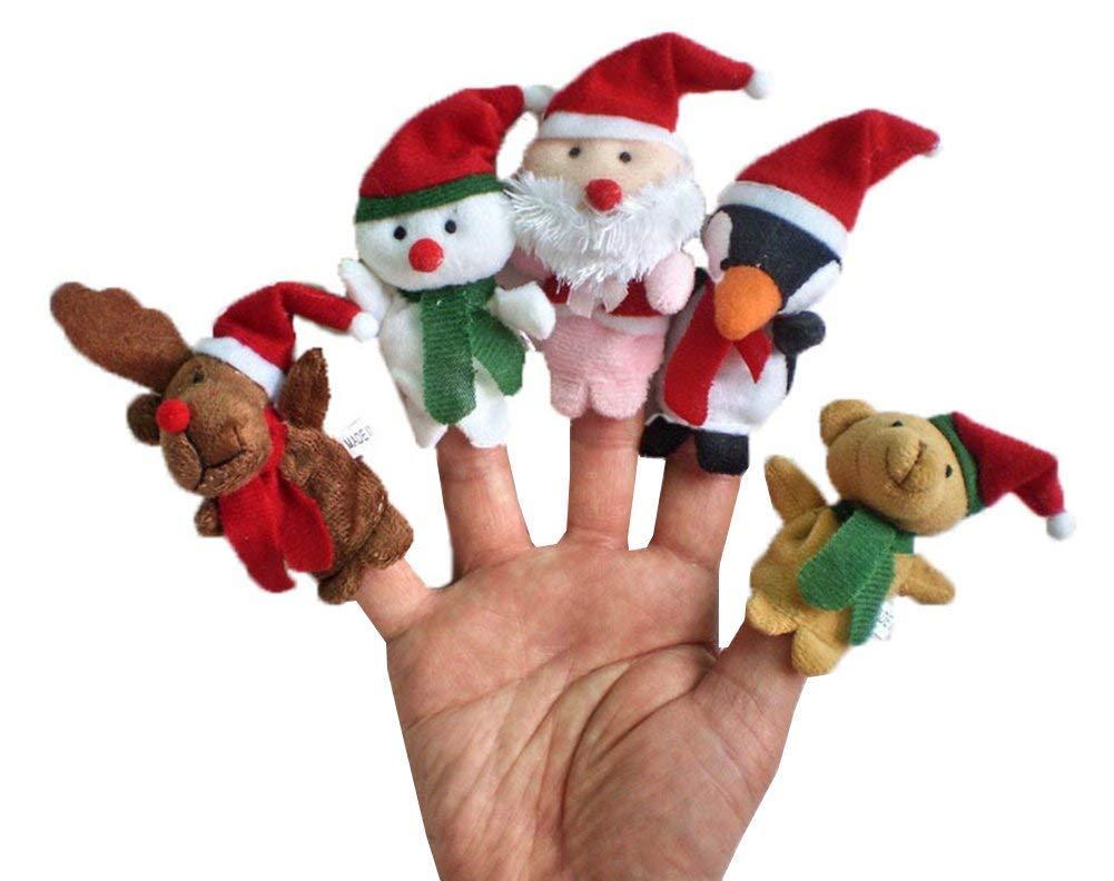 Demarkt Weihnachts Fingerpuppen Set Rollenspiele Handpuppe Plü sch Spielzeug Kinder Frü hre Bildung Rentier Schneemann Weihnachtsmann Pinguin Teddy Bä r