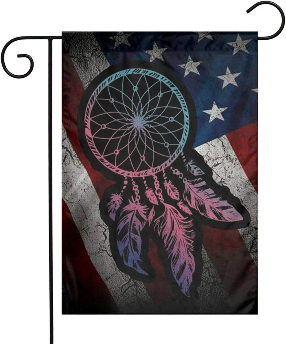 Native American Flag Indian Black Tribal Dreamcatcher Vintage Usa Flax Nylon Burlap Linen Fabric Garden Flag Farmhouse Decorations Mailbox Decor Welcome Sign 12x18 Inch Small Mini Size Double Sided