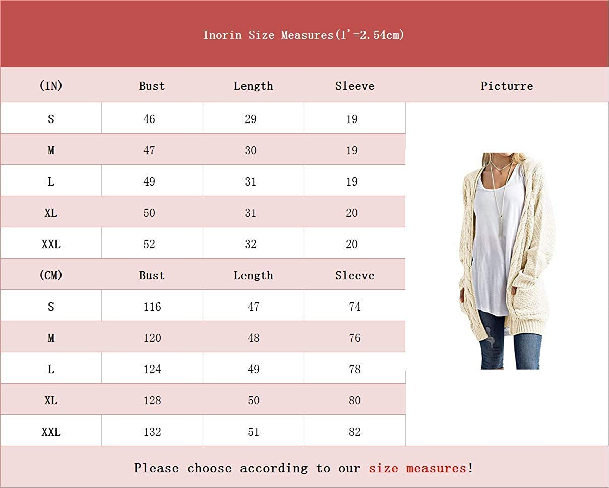 Inorin Womens Open Front Cardigan Pockets Cable Knit Long Sleeve ...