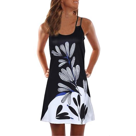 Kstare Womens Sleeveless Floral Print Strappy Tank Short Mini Dress (S, Black)