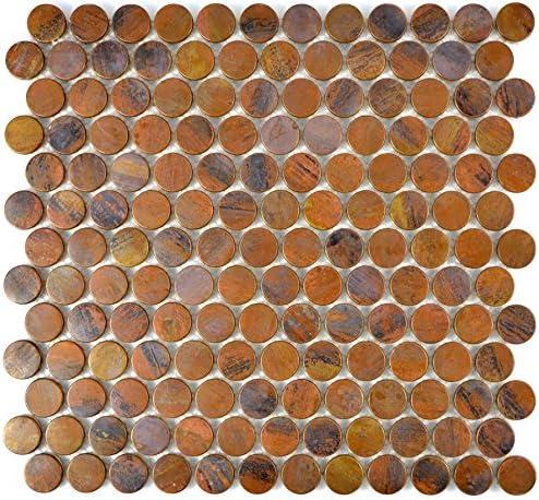 Mosaik Fliese kupfer Knopf braun f/ür WAND BAD WC DUSCHE THEKENVERKLEIDUNG Mosaikmatte Mosaikplatte