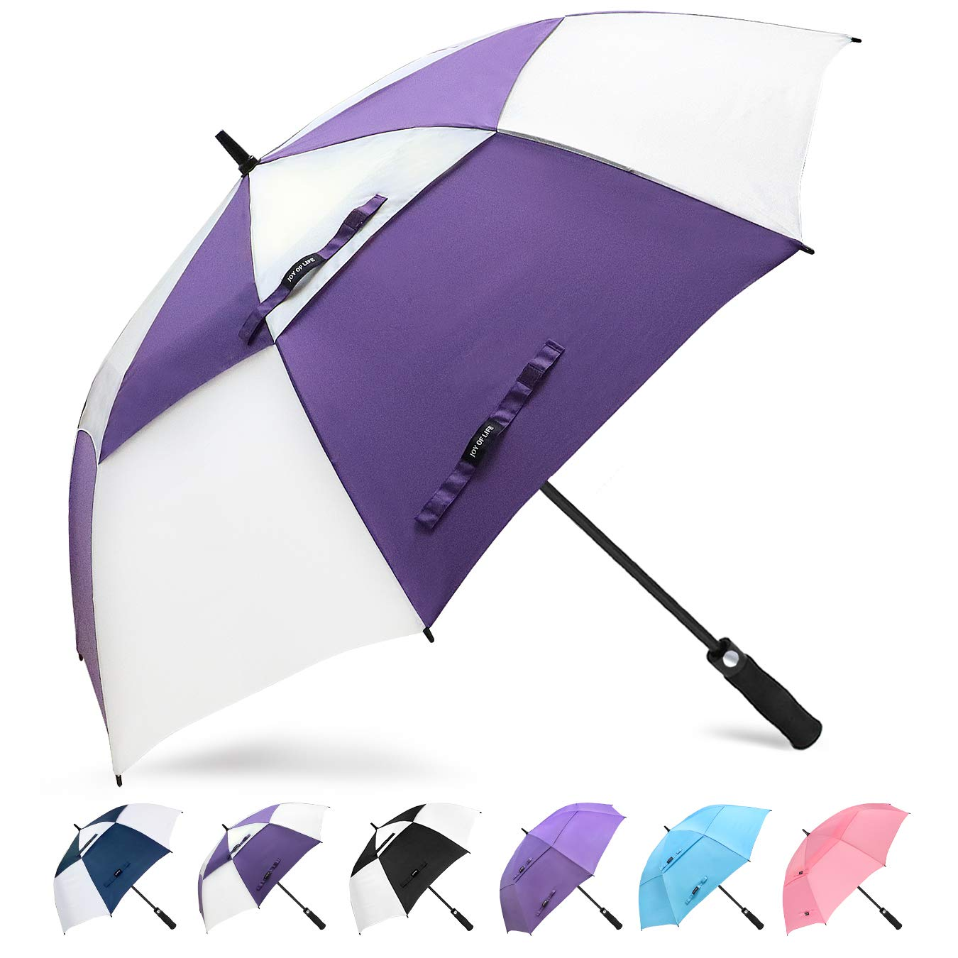 ZOMAKE Golf Umbrella 62 Inch, Large Windproof Umbrellas Automatic Open Oversize Rain Umbrella with Double Canopy for Men - Vented Stick Umbrellas by ZOMAKE