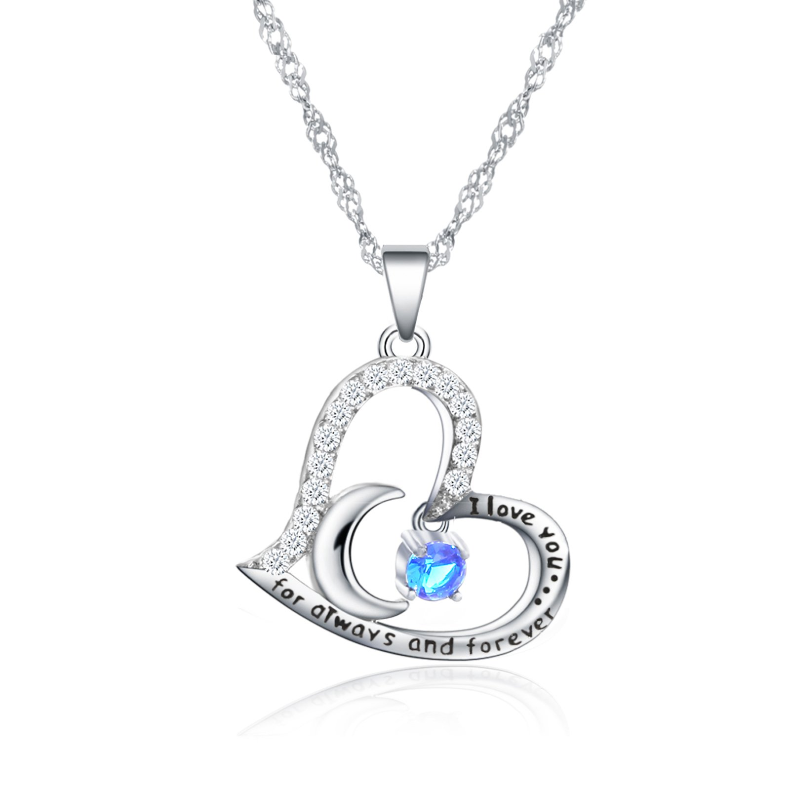 Valentine's Day Gift Fine Jewelry Gift Sterling Silver Heart Pendant Necklace Birthday Necklace I Love You For Always and Forever Dancing Birthstone (09-September-Sapphire)