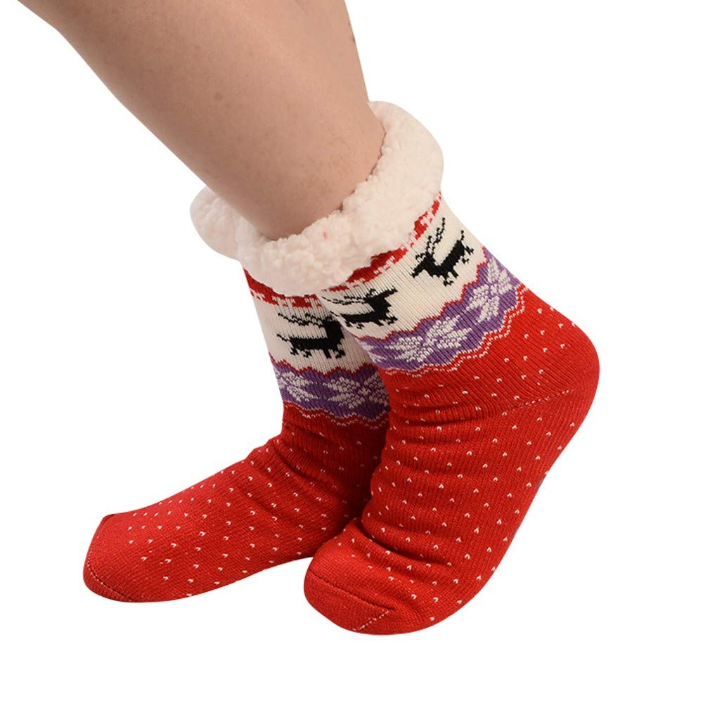 Womens Soft Warm Cozy Fuzzy Snowflake Deer Fleece-lined Christmas Slipper Socks