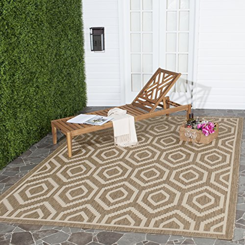 (Safavieh Courtyard Collection CY6902-242 Brown and Bone Indoor/ Outdoor Square Area Rug (7'10